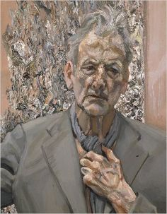 by Lucian Freud____ The veins in the hand and the folds/bags around the eyes. Incredible use of color and brush work. Image detail for -sad news lucian freud one of the greats of british post war painting . Lucian Freud Portraits, Lucian Freud Paintings, L'art Du Portrait, Oil Canvas, Robert Rauschenberg, Artists And Models, Edward Hopper, David Hockney, Art Moderne