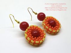 The 'Autumn colors' beaded earrings. Free detailed tutorial.
