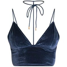 Tasmine Blue Velvet Choker Bralet (245 HNL) ❤ liked on Polyvore featuring tops, crop top, shirts, bralet, bralet tops, blue shirt, shirt crop top, blue crop top and bralette tops