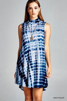 Blue Tie Dye Sleeveless Dress