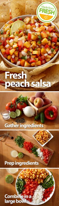 Here's a twist on traditional salsa you can serve at your next get-together. Just by adding fresh juicy peaches, you get a mouthwatering salsa that everyone will love. Find these fresh ingredients at your local Walmart.