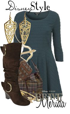 """""""Disney Style : Merida"""" by missm26 on Polyvore- Love the boots and accessories, not too fond of the dress"""