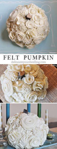 Autumn felt pumpkin all in cream! The perfect fall decor craft project. Delineateyourdwelling.com
