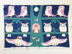 What a HOOT! Vintage Tea Towel Owls Tree Full Moon Wall Hanging Decor Ulster Textile Rare Design at NeatoKeen on Etsy