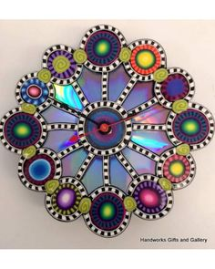 Clock - made from polymer clay Daria Petch.