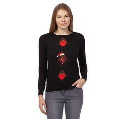 The Collection Black Christmas robins jumper- | Debenhams