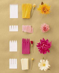 flores de papel sencillas para hacer con niños y decorar fiestas ¡Flower Power! Flores de papel crepe para hacer en casa