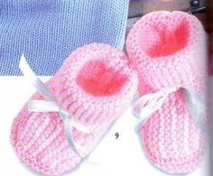 Slippers with knit back in all colors for baby. One size Needles: 3 Green slippers Navy blue slippers Socks - Crochet Bebe, Crochet Baby Booties, Knit Crochet, Green Slippers, Camping Gifts, Baby Boots, Drops Design, Creative Gifts, Revers
