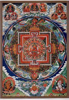 釈迦如来と十六羅漢の曼荼羅