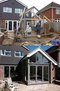 This incredible transformation has helped to bring in natural daylight to their home. Here we have installed powder coated aluminium bi-folding doors, featuring a gable frame above. House Extension Plans, House Extension Design, Glass Extension, Roof Extension, House Design, Extension Ideas, Roof Design, Garden Room Extensions, House Extensions