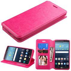 MYBAT Flip Stand Leather Wallet LG G Vista 2 Case - Hot Pink