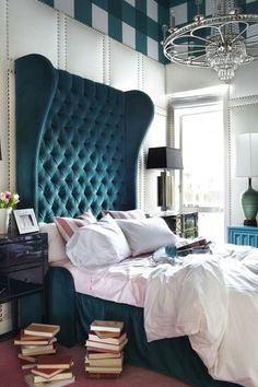 Heres your Daily Dose of Design! This Hollywood Bedroom by . - Architecture and Home Decor - Bedroom - Bathroom - Kitchen And Living Room Interior Design Decorating Ideas - Home Bedroom, Bedroom Decor, Bedroom Ideas, Glam Bedroom, Master Bedrooms, Luxury Bedrooms, Stylish Bedroom, Bedroom Inspiration, Blue Headboard