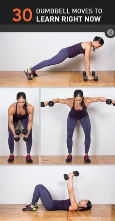Dumbbell exercises provide a great full-body workout in a compact amount of space. Yes, we said great workout — not just a few decent arm exercises. Read on to de-zombify that workout routine with 30 killer new dumbbell exercises. Workout Hiit, Dumbbell Workout, Fun Workouts, Dumbbell Exercises, At Home Workouts, Body Exercises, Workout Plans, Workout Fitness, Cycling Workout