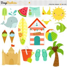 SALE 50% OFF Beach Digital Clipart - Beach Party Digital Clipart ...