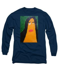Patrick Francis Designer Navy Long Sleeve T-Shirt featuring the painting Portrait Of Woman With Hair Loose - After Vincent Van Gogh by Patrick Francis