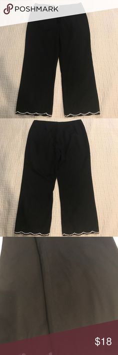 Neiman Marcus cotton pants These cotton pants are very nice especially with the nice white details at the bottom. Size 16. Inseam approx 25. In good condition with one exception: on the inside of left pants there are some threads pulling out (noticeable up close ). Pls see last pic. Price reflects this. Neiman Marcus Pants