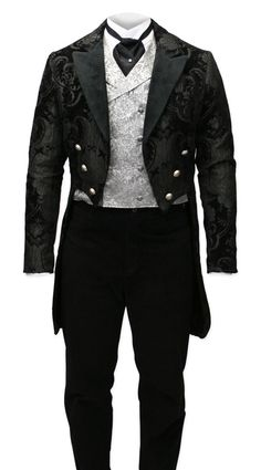 Steampunk Mens Black Floral Peak Collar Tail Coat | Gothic | Pirate | LARP | Cosplay | Retro | Vampire || Velvet Trimmed Regency Tailcoat - Black Tapestry
