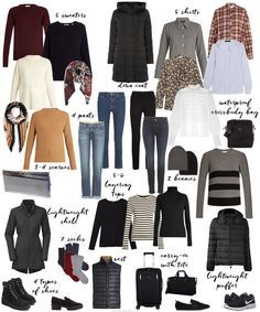 New travel europe winter packing lists capsule wardrobe ideas Winter Travel Packing, Travel Capsule, Winter Travel Outfit, Fall Packing, Outfit Winter, Travel Packing Outfits, Winter Travel Clothes, Clothes For Traveling, New York Winter Outfit