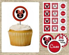Minnie Mouse Cupcake Toppers - RED -  Printable Design - 2 inch Circles
