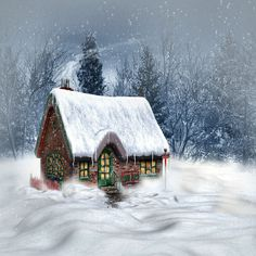 winter background Christmas cottage
