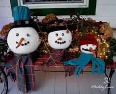 Turn White Pumpkins into Snowmen...place on a bench with fresh greenery and you have an adorable decoration for the entire winter season!