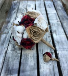 Burlap, red flannel, and cotton wedding bouquet and boutineer by 224Locust