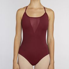 Mesh V Leotard:  WINE