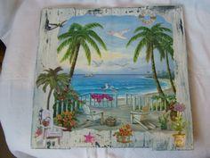 "Maritimes Bild - ""Beach House"" -  Bilderrahmen wurde aus gebrauchten Holzleisten einer Gemüsekiste neu konstruiert - upcycling"