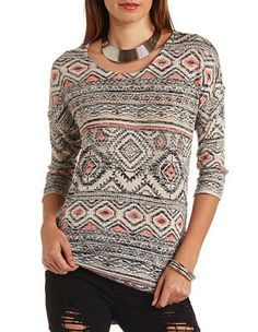 High-Low Aztec Print Tunic Top: Charlotte Russe