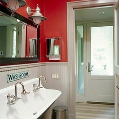 A bit more vintage than our first lake house bath but Love the added touches! Sink and Mirror!