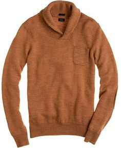 J.Crew Slim rustic merino elbow-patch sweater with shawl collar on shopstyle.co.uk