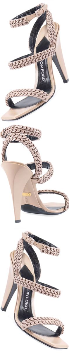 TOM FORD Chain Strappy 105mm Sandal, Beige