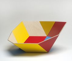 Handcrated timber 'K Bowls' by Stephen Ziguras ofEco Wood Design. Above – the 'Kurv' bowl in Sky blue. Above – the 'Tegl' bowl in Mondrian...