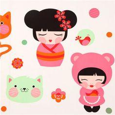 big Kokeshi doll kawaii girls fabric by Robert Kaufman USA 1