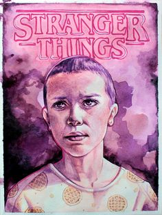 Subtle Waffles - Eleven from Stranger Things watercolor by Erin Bower