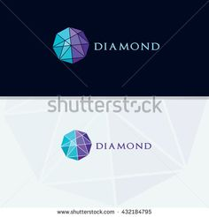 Diamond logo, Crushing abstract pattern. Colorful precious stone logotype.