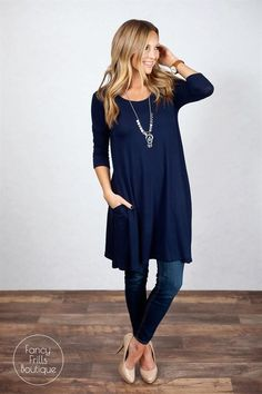 This is the PERFECT tunic to transition you into spring! The long length is perfect with leggings, jeans... it looks great with anything! So cute now, paired with your favorite cardigan or jacket, and will be perfect in the spring and summer on it's own! The lightweight fabric is so soft and comfy, it's sure to be your favorite new tunic! We love the loose flowy fit that keep this right on trend for the season, and the pocket that sets it apart from your basic tunic. The perfect all occasion... Tunic Dress With Leggings, Long Shirt With Leggings, Fall Leggings, Long Shirts For Leggings, Shoes With Leggings, Tunic Dresses, Summer Outfits, Cute Outfits, Work Outfits