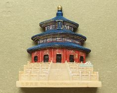 Fridge Magnet, Hand Painted, 7 x 6.5 cm, Temple of Heaven, BeiJing, China