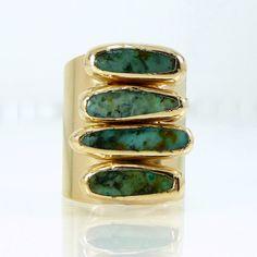 Bague turquoise, pierres précieuses bague en or, décembre Birthstone, pierres de Turquoise africaine, bague large, fête de printemps par Inbal Mishan.