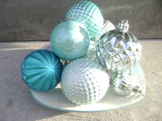 Vintage Blue and Silver Christmas Ornaments - Beautiful Colors