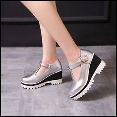 2016 Autumn Womens High Wedge Heel Platform T Strap Oxfords Buckle Korean Shoes