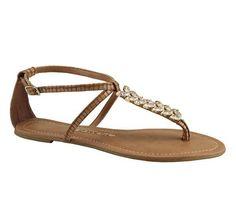 Sandália rasteira com aplicações em pedras | Sandálias | Bottero Calçados