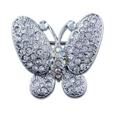 Pugster Empress Monarch Silver Flying Butterfly Winged Clear White Swarovski Crystal Diamond Accent Rhinestone Brooches And Pins Pugster. $11.26. Can be pinned on your gown or fastened in your hair with bobby pins.. Occasion: casual wear,anniversary, bridal, cocktail party, wedding. Exquisitely detailed designer style with Swarovski cystal element.. One free elegant cushioned Gift box available with every order from Pugster.. Money-back Satisfaction Guarantee.