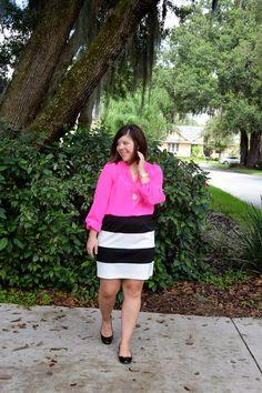 hot pink Elsa top + black and white striped skirt + black flats