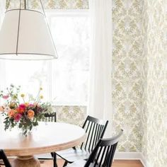 Brocade Damask Wallpaper from Impressionist by York. Priced by single roll & packaged double. Floral Print Wallpaper, Bohemian Wallpaper, Damask Wallpaper, Lucite Chairs, Striped Walls, Burke Decor, Formal Living Rooms, Timeless Design, The Ordinary