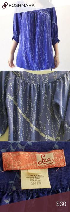 "Lux 100% Silk Tunic Blouse UO 100% Silk Tunic in Violet Blue 🌺This soft silk tunic goes great with shorts, jeans, leggings & leather jacket! Silks are never out of fashion🌷 No signs of wear. Like New Condition! 🌸Extra small, extra long length  🌸Side slits. Unlined.  🌸29"" back of neck to hem  🌸15.5"" sleeves  🌸14.5"" shoulders Lux Tops Tunics"