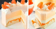 Orange Creamsicle Ice Cream Cake Ingredients : Cake Layer cup + 2 tbsp all purpose flour cup sugar 1 tsp baking powder 6 tbsp salted butter, room temperature 2 egg whites 1 tsp vanilla extract cup sour cream cup milk 3 tbsp hot water 3 Orange Creamsicle, Creamsicle Cake, Orange Jello, Orange Candy, Sour Cream, Orange Ice Cream, Frozen Desserts, Frozen Treats, Summer Desserts