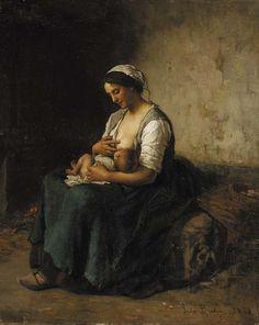 Jules Breton - Mère allaitant son bébé