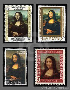 Mona Lisa Postage Stamps, by Anthony Baggett /via http://www.pinterest.com/suziholler/inspiration-mona-lisa/