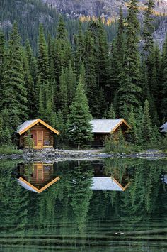 Cabins In Yoho National Park in the Canadian Rocky Mountains along the western slope in southeastern British Columbia.